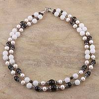 Multi-gemstone long beaded necklace, 'Endless Glamour' - 925 Sterling Silver Gemstone and Cultured Pearl Necklace