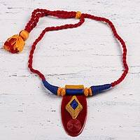 Ceramic pendant necklace, 'Festival of Colors' - Red Ceramic and Cotton Pendant Necklace from India