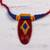 Ceramic pendant necklace, 'Festival of Colors' - Red Ceramic and Cotton Pendant Necklace from India (image 2b) thumbail