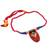 Ceramic pendant necklace, 'Festival of Colors' - Red Ceramic and Cotton Pendant Necklace from India (image 2d) thumbail