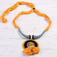 Ceramic pendant necklace, 'Sunset in Kolkata' - Marigold Ceramic and Cotton Pendant Necklace from India