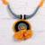 Ceramic pendant necklace, 'Sunset in Kolkata' - Marigold Ceramic and Cotton Pendant Necklace from India thumbail