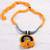 Ceramic pendant necklace, 'Sunset in Kolkata' - Marigold Ceramic and Cotton Pendant Necklace from India (image 2b) thumbail