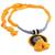 Ceramic pendant necklace, 'Sunset in Kolkata' - Marigold Ceramic and Cotton Pendant Necklace from India (image 2c) thumbail