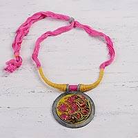 Ceramic pendant necklace, 'Water Blossoms' - Floral Ceramic and Cotton Pendant Necklace from India