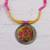 Ceramic pendant necklace, 'Water Blossoms' - Floral Ceramic and Cotton Pendant Necklace from India (image 2b) thumbail