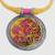 Ceramic pendant necklace, 'Water Blossoms' - Floral Ceramic and Cotton Pendant Necklace from India (image 2c) thumbail
