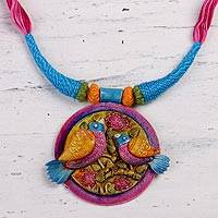 Cotton and ceramic necklace, 'Two of a Kind' - Cotton Cord Necklace and Ceramic Bird Pendant
