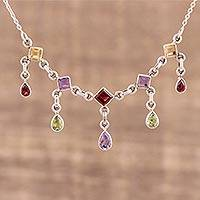 Multi-gemstone pendant necklace, 'Prismatic Allure' - Multi-Gemstone Link Pendant Necklace from India
