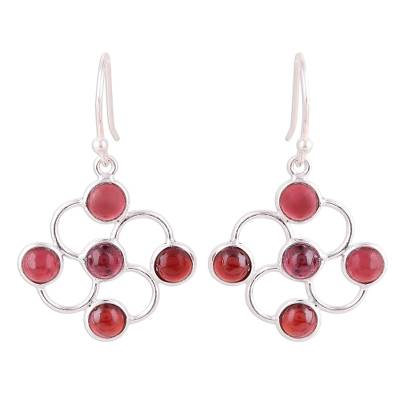 Garnet Cabochon and Sterling Silver Dangle Earrings