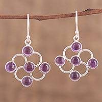 Amethyst dangle earrings, 'Blooming Lavender' - Amethyst Cabochon and Sterling Silver Dangle Earrings
