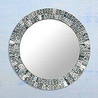 Glass mosaic wall mirror, 'Dazzling Glare' - Artisan Crafted Glass Mosaic Wall Mirror Frame from India