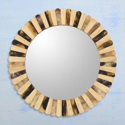 Wood and horn wall mirror, 'Radiant Horn' - Mango Wood and Buffalo Horn Round Scalloped Edge Wall Mirror