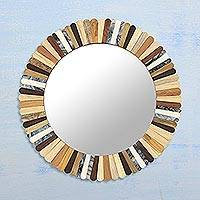 Wood and horn wall mirror, 'Earthtone Remix' - Artisan Crafted Wood and Bone Round Wall Mirror from India