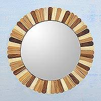 Wood wall mirror, 'Woodland Delight' - Artisan Crafted Round Mango Wood Wall Mirror from India