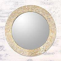 Glass mosaic wall mirror, 'Golden Sun' - Golden Art Glass Mosaic Framed Round Wall Mirror