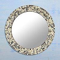 Glass mosaic wall mirror, 'Shimmering Reflection' - Glass Mosaic Round Wall Mirror from India