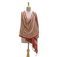 Silk shawl, 'Terracotta Bliss' - Handwoven Burnt Sienna Tussar Silk Shawl from India