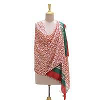 Silk shawl, 'Kolkata Afternoon' - Handwoven Multi-Colored Floral Silk Shawl from India