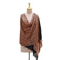 Silk shawl, 'Exquisite Dynasty' - Handwoven Black and Peach Silk Shawl from India