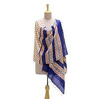 Silk shawl, 'Afternoon in India' - Handwoven Multi-Colored Silk Shawl from India