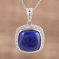 Rhodium plated lapis lazuli and topaz pendant necklace, 'Royal Flair' - Lapis Lazuli and Topaz Pendant Necklace from India