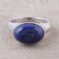Lapis lazuli cocktail ring, 'Graceful Blue' - Lapis Lazuli Sterling Silver Cocktail Ring from India