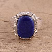 Rhodium plated lapis lazuli cocktail ring, 'Sundarata' - Lapis Lazuli Sterling Silver Cocktail Ring from India