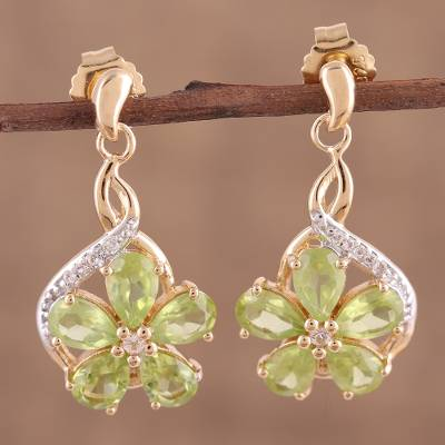 Gold plated peridot and white topaz dangle earrings, 'Elegance in Bloom' - Gold Plated Peridot and White Topaz Dangle Earrings