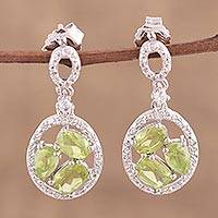 Rhodium plated peridot and white topaz dangle earrings, 'Opulent Trinity' - Peridot and White Topaz Rhodium-Plated Earrings from India