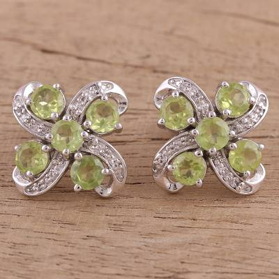 Rhodium plated peridot and white topaz button earrings, 'Alluring Bloom' - Peridot and White Topaz Rhodium Plated Button Earrings