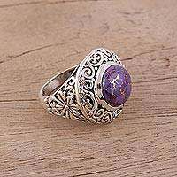 Sterling silver cocktail ring, 'Lavender Sun' - Purple and Sterling Silver Cocktail Ring with Floral Motif