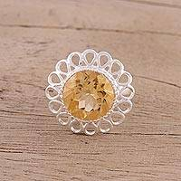 Citrine cocktail ring, 'Golden Floret' - Citrine and Sterling Silver Floral Cocktail Ring from India