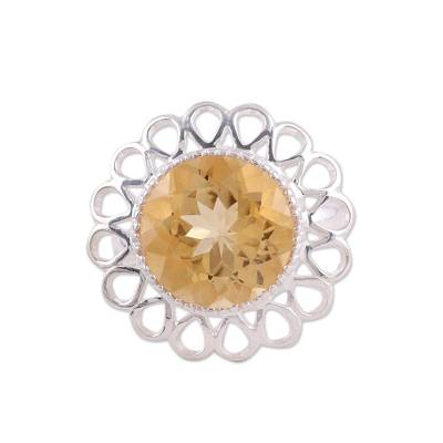 Citrine and Sterling Silver Floral Cocktail Ring from India