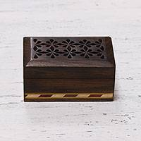 Decorative wood box, 'Flower Path' - Hand Crafted Wood Box with Jali and Inlay Motifs