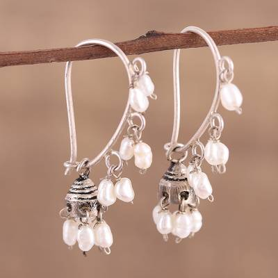 Cultured pearl dangle earrings, 'Pearl Melody' - Cultured Pearl and Sterling Silver Dangle Earrings