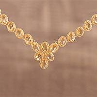 Gold vermeil citrine link necklace, 'Sunny Garland'