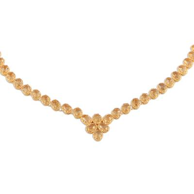 Gold vermeil citrine link necklace, 'Sunny Garland' - Gold Vermeil and Citrine Necklace Handcrafted in India