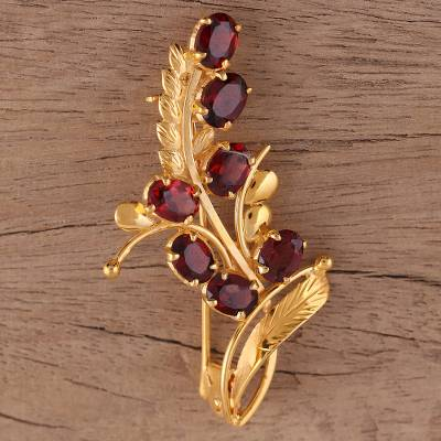 Gold plated garnet brooch pin, 'Gorgeous Scarlet' - Handcrafted Gold Plated Silver and Garnet Floral Brooch Pin