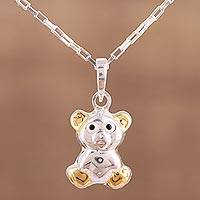 Gold accented sterling silver pendant necklace, 'Cuddly Bear' - Sterling Silver Gold Accented Teddy Bear Pendant Necklace