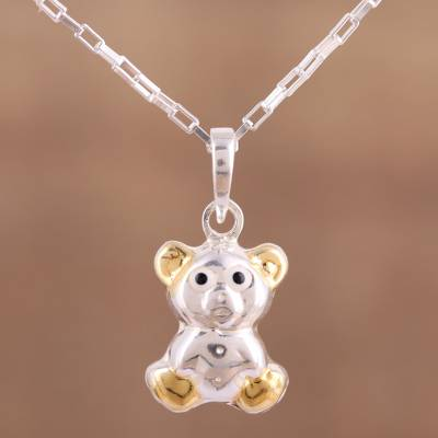 Sterling silver gold accented teddy bear pendant necklace cuddly gold accented sterling silver pendant necklace cuddly bear sterling silver gold accented aloadofball Images