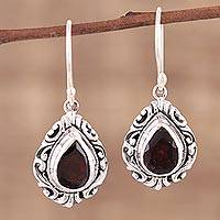 Garnet dangle earrings, 'Scarlet Drop' - Handmade Garnet Sterling Silver Dangle Earrings from India