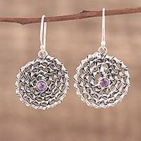 Amethyst dangle earrings, 'Lavender Spiral' - Amethyst and Sterling Silver Dangle Earrings from India