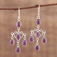 Amethyst chandelier earrings, 'Majestic Cascade' - Oval Amethyst Chandelier Earrings from India
