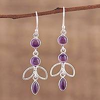 Amethyst dangle earrings, 'Desirous Beauty' - Artisan Crafted Amethyst Dangle Earrings from India