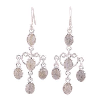 Labradorite chandelier earrings, 'Majestic Cascade' - Oval Labradorite Chandelier Earrings from India