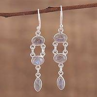 Labradorite dangle earrings, 'Misty Bliss' - Handcrafted Labradorite Dangle Earrings from India