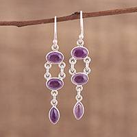 Amethyst dangle earrings, 'Regal Delight' - Handcrafted Amethyst Dangle Earrings from India
