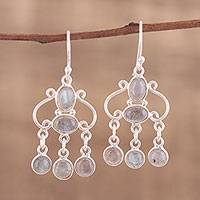 Labradorite chandelier earrings, 'Fanciful Swirls' - Handcrafted Labradorite Chandelier Earrings from India