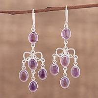 Amethyst chandelier earrings, 'Purple Cascade' - Purple Amethyst Chandelier Earrings from India